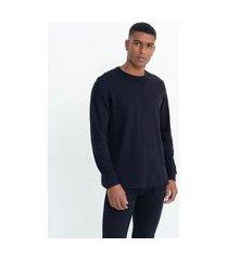 camiseta manga longa fit comfort em algodão peruano | marfinno | preto | gg