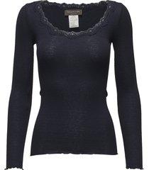 silk t-shirt regular ls w/rev vinta t-shirts & tops long-sleeved blauw rosemunde