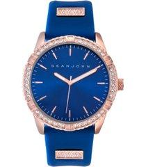 sean john men's dress sport 3 hands blue silicon strap watch 46mm