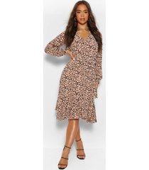 luipaardprint midi blouse jurk, bruin