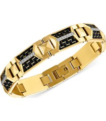 esquire men's jewelry diamond bracelet (1/4 ct. t.w.) in black carbon fiber & gold-tone ion-plated stainless steel, created for macy's