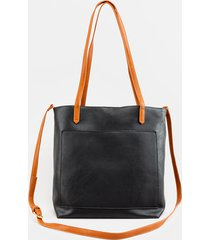 women's rosie soft vegan leather tote in black in black by francesca's - size: one size