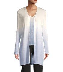 t tahari women's ribbed long-sleeve cardigan - star white - size m