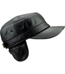 unisex berretto militare nero in pelle vera di pecora caldo con protezione per orecchie