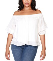 belldini black label plus size off-shoulder ruffle top with blouson sleeves