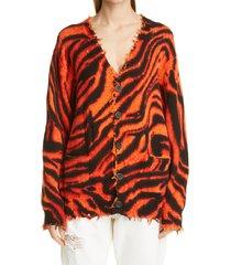 women's r13 zebra print distressed oversize cotton cardigan, size small - orange