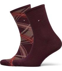th women sock 2p tartan lingerie socks regular socks röd tommy hilfiger