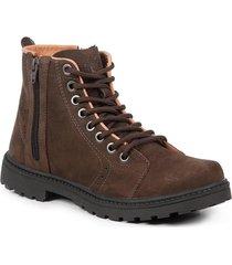 bota coturno masculina couro zíper cano médio leve conforto marrom