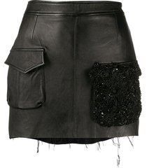 almaz beaded pocket mini skirt - black