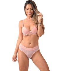 conjunto com bojo vip lingerie microfibra com renda favo de mel rosa