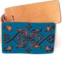 cinto teodora's couro fivela  corte laser areia - multicolorido - feminino - dafiti