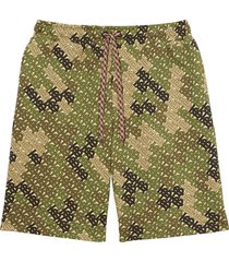 burberry camouflage monogram bermuda shorts - green