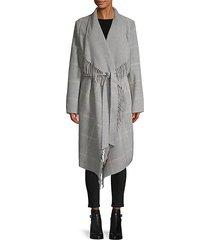 fringe-trim plaid wool-blend belted coat