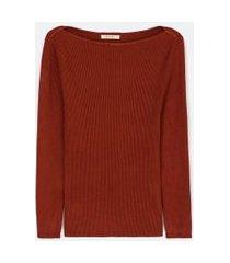 blusa manga 7/8 canelada com decote canoa em tricô | marfinno | marrom | g