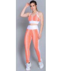 calça fora do eixo legging laranja com branco