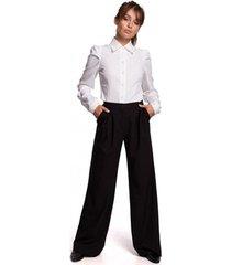 broek be b164 broek met wijde pijpen - zwart