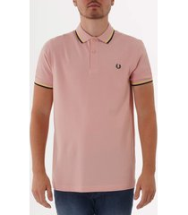 fred perry m3600 twin tipped polo shirt - silver pink, soft yellow & black m3600-457