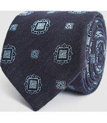 reiss marco - silk blend medallion tie in navy/ soft blue, mens