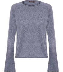 blusa feminina de tricot manga sino - cinza