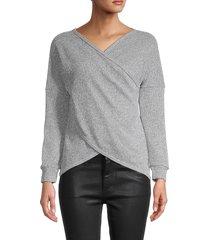 stellah women's wrap long-sleeve top - silver - size s