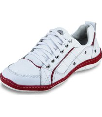sapatãªnis de amarrar masculino clacle em couro branco e vermelho - branco - masculino - couro - dafiti