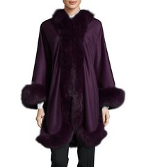dyed fox fur cashmere cape