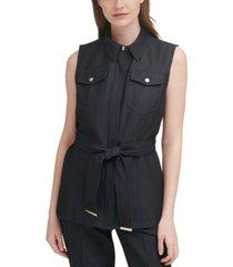 calvin klein solid pocket-front belted vest