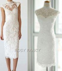 rosyfancy mandarin collar cap sleeves sheath tea length short lace wedding dress