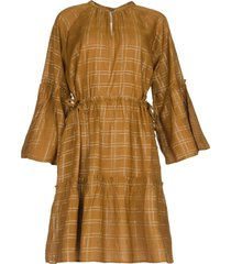 jurk met geruit lurexpatroon deep  camel
