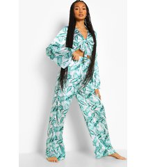 satijnen palmprint pyjama set met strik, ivory