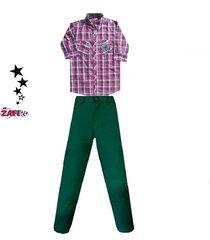 conjunto   camisa  y pantalón en drill