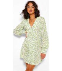 bloemenpatroon blouse jurk, olijf