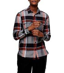 men's topman plaid button-up flannel shirt