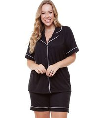 pijama bermudoll americano plus size manga curta feminino luna cuore