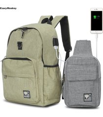 mochila/ czarymonkey 2pcs usb charge port cable backpack-