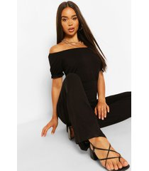 bardot puff sleeve wide leg jumpsuit, black