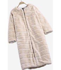 cappotto a maniche lunghe autunno inverno in pelliccia sintetica beige