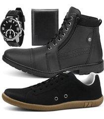 kit bota casual e sapatênis sapatofran + relógio e carteira masculino - masculino