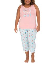 munki munki plus size pineapple tank & capri pajama set, online only