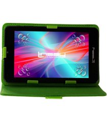 "7"" quad core 2gb ram 32gb android 10 dual camera tablet with green leather case"