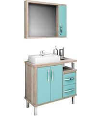 conjunto de banheiro são joão lótus, barrique e verde, 80 cm