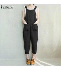 zanzea mujeres bib pantalones peto pantalones mono del mameluco del algodón trajes -negro