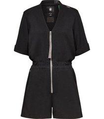 contrast zipper blouse playsuit