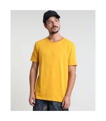 camiseta masculina básica manga curta gola careca mostarda