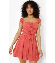 petite linnen look mini jurk met ceintuur, terracotta