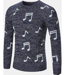 mens musical note modello pullover crew collo maglia casual a maniche lunghe in lana
