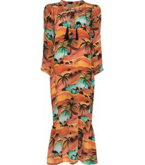 chufy oasis print drawstring dress - orange