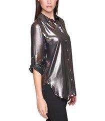 calvin klein plus size roll-sleeve metallic shirt