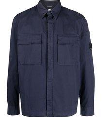 c.p. company gabardine lens-arm shirt jacket - blue