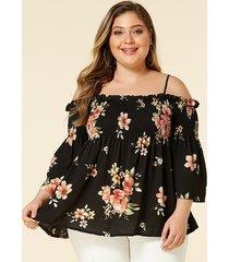 plus blusa con estampado floral al azar en el hombro, negro